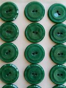 Vintage Buttons - 24 Green 2-hole Raised Rim Casein 7/8 Buttons Made In France