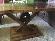 Rustic Antique End Table With 1898 Tractor Pulley Whelel