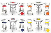 Vintage Gas Themed 3 Piece White Bar Table With Logo And 2 Chrome Swivel Stools