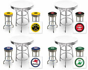 Bar Table Set Vintage Gas Theme 3-pc White Table Retro Decal Backless Stools