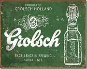 Grolsch Beer Product Of Holland Brewing Tin Metal Beer Bar Sign Made In The Usa