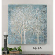 Contemporary Silver Trees Canvas Artwork Wall Art Painting Frameless
