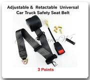1 Kit Universal Strap Retractable And Adjustable Safety Seat Belt Black 3 Point