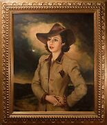 Beautiful Mid-century Oil Painting Female Portraitby Theodore Werner Film Noir