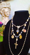 Handmade Religious Assemblage Necklace Vintage Crucifix Holy Medals Bone Pearls