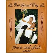 Personalized Wood Picture Frames Wedding Gift Laser Engraved 4x6 5x7 8x10 8.5x11