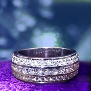 2.00 Ct Princess And Round Cut Diamond Wedding Band In 14k Wg Channel/pave Setting
