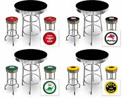 Vintage Gas Garage Auto Shop Themed Black Bar Table And Chrome Stools W/decals Set