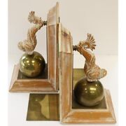 Pair Of Oliver Messel Barbados And039cockade Houseand039 Dolphin W/ Brass Andlsquoglobeandrsquo Bookends