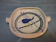 Hand Thrown Square Bowl Art Pottery Applied Handle White Blue 14""