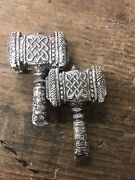 2.7 Tr/oz Mk Barz Thors Hammer . .999 Silver Poured Bar. Complete 3d Statue