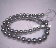 Aaaa 8-9 Mm Natural Akoya Silver Grey Pearl Necklace 18 Inch 14k Solid Gold