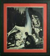 Abercrombie And Fitch Camping Gouache Artwork Signed E.v. Hilleary And Dated 1935