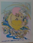 Peter Max And039orange Heartand039 Hand Signed Numbered Early Print Htf