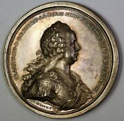 Maria Theresa Francis Silver High Relief Medal Nicely Toned Sculted By Wurth