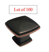 Lot Of 100 Oil Rubbed Bronze Square Kitchen Cabinet Drawer Knob Free Shipping