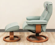 Showroom Fjords Regent Small Recliner Chair + Ottoman Sl265 Seagreen Leather Sl