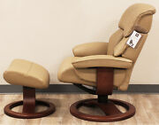 Showroom Fjords Alfa Large Recliner Chair And Ottoman Al 552 Tan Leather Lounger