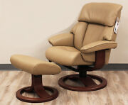 Fjords Alfa Large Recliner Chair And Ottoman Al 552 Tan Leather Lounger