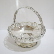 9 In - Sterling Silver Dingwall Antique Openwork Round Serving Bowl W/ Handle