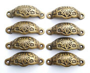 8 Apothecary Drawer Cup Pulls Handles Ant. Victorian Style Solid Brass 3c. A2