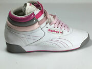 Reebok Vintage Hgh Top Wmn's White/pink Leather Casual Hi Top Shoes Size 7.5 Usa