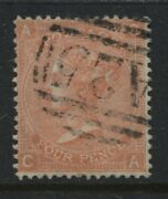 Gb Used Abroad 1865 4d Plate 13 Ca Struck By A Malta Numeral A25