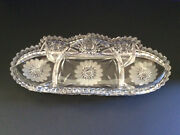 Vintage Crystal Cut Glass Celery Dish With Saw-tooth Edge, Prob. Ab Period