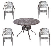 5 Piece Outdoor Dining Set Cast Aluminum Outdoor Furniture Round Table 4 Chairs.