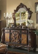 Versailles Traditional 5 Drawer Dresser And Mirror - Rich Cherry Oak Carved Wood