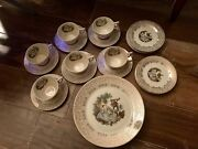 American Limoges Triumph Dandrsquoor China 2 Cups And Saucers Usa 22k Gold