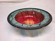 Hand Decorated Art Ceramic Turquoise Red Black Drizzle Serving Bowl Signed 101/2