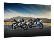 Yamaha Yzf R1 And R1m - 30x20 Inch Canvas - Framed Picture Poster Print Art