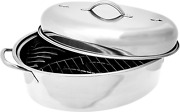 Covered Stainless Steel Non-stick Top Roast Oval Roaster Pan With Lid And Rack