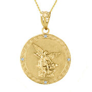 14k Gold Saint Michael Diamond Back Side Engraved Prayer 1.14 Pendant Necklace