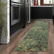 Modern Area Rug Runner Contemporary Leaves Design Kitchen Hall Non-skid Backing