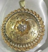 Mid 20th Century 14 K Round Locket Surrounding By Pearls Set Cz Heart At Center