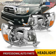Headlights Assembly For 2005-2011 Toyota Tacoma Chrome Headlamp Lamps Left+right