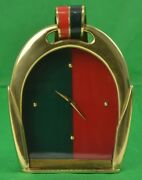Brass Stirrup Equestrian Red And Green Stripe Enamel C1970s Easel Clock