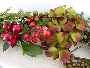 5ft Hydrangea And Red Berry Artificial Christmas Garland Indoor Home Decoration