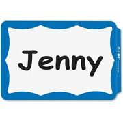 2000 - Name Badges - Peel And Stick - Blue Border Tags Labels Sticker Adhesive Id