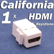 Hdmi Keystone Wall Plate Snap-in Insert Coupler Adapter Jack Female Cable White