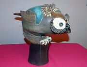 Rosemary Laughlin Bashor Abstract Owl Studio Art Pottery Sculpture Signed Bird