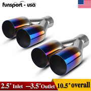 2.5 Inlet 3.5 Dual Outlet Exhaust Tip Round Cut Blue Burnt Stainless Steel