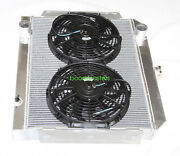 For 66-69 International Scout V8 Mt 3 Row Performance Radiator+12 Fans