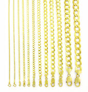 14k Yellow Gold Solid 1.5mm-12mm Cuban Curb Chain Link Pendant Necklace 16- 30