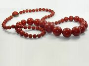 Antique 33 Art Deco Cherry Red Bakelite Graduated Bead Necklace 106.4 G Tested