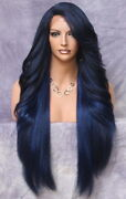Extra Long Human Hair Blend Heat Ok Full Lace Front Wig Wbpc Dark Blue