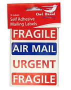16 Self Adhesive Mailing Parcel Labels Stickers Fragile / Air Mail / Urgent