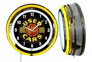 Used Cars Safety Tested 19 Yellow Neon Clock Man Cave Bar Car Lot Dealership